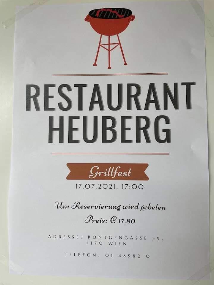 Grillabend Restaurant Heuberg Cart -Speisekarte des eh Schutzhaus Hernals Wien 1170 -Collages4